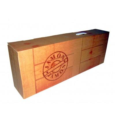 Caja para jamones Modelo jamón, imitación madera. 780x140x285